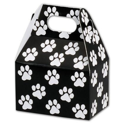 Black Paw Print Gable Boxes, 4 x 2 1/2 x 2 1/2""