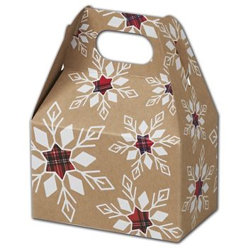 Plaid Snowflakes Gable Boxes, 4 x 2 1/2 x 2 1/2