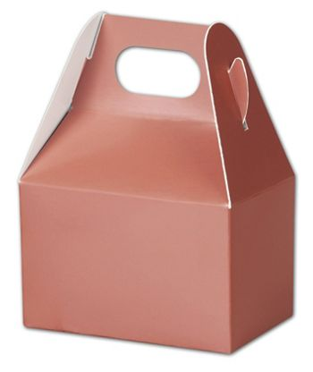 Metallic Rose Gold Gable Boxes, 4 x 2 1/2 x 2 1/2