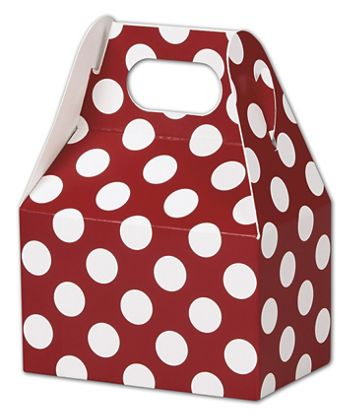 Red & White Dots Gable Boxes, 4 x 2 1/2 x 2 1/2