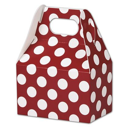 Red & White Dots Gable Boxes, 4 x 2 1/2 x 2 1/2""