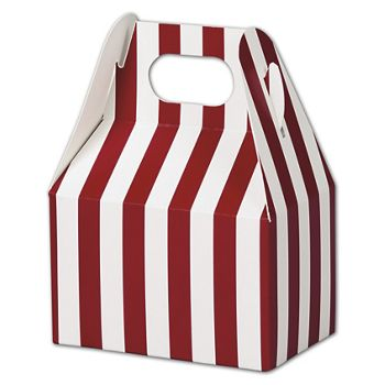 Red & White Stripes Gable Boxes, 4 x 2 1/2 x 2 1/2