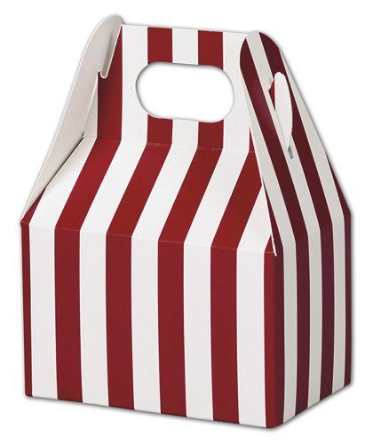 """Red & White Stripes Gable Boxes, 4 x 2 1/2 x 2 1/2"""""""