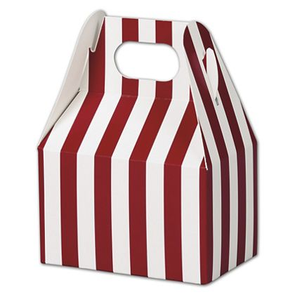 Red & White Stripes Gable Boxes, 4 x 2 1/2 x 2 1/2""