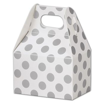 Metallic Silver Dots Gable Boxes, 4 x 2 1/2 x 2 1/2