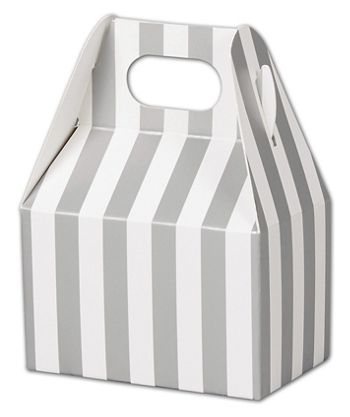 Metallic Silver Stripes Gable Boxes, 4 x 2 1/2 x 2 1/2