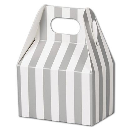 Metallic Silver Stripes Gable Boxes, 4 x 2 1/2 x 2 1/2""