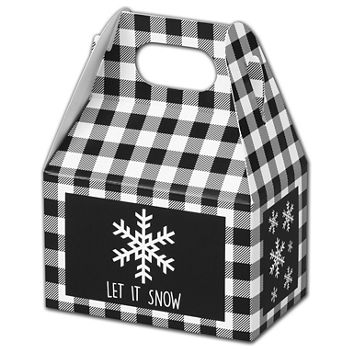 Let it Snow Plaid Gable Boxes, 4 x 2 1/2 x 2 1/2""