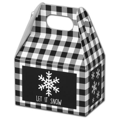 """Let it Snow Plaid Gable Boxes, 4 x 2 1/2 x 2 1/2"""""""
