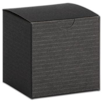 Black Pinstripe One-Piece Gift Boxes, 4 x 4 x 2""