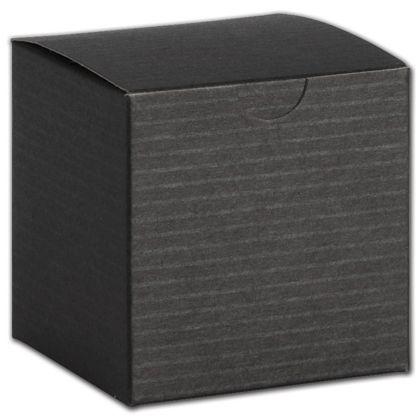 "Black Pinstripe One-Piece Gift Boxes, 4 x 4 x 2"""
