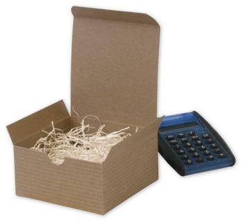 Kraft One-Piece Gift Boxes, 4 x 4 x 2