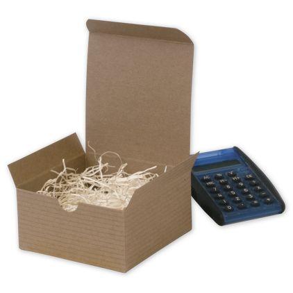 "Kraft One-Piece Gift Boxes, 4 x 4 x 2"""