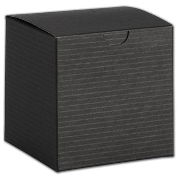 Black Pinstripe One-Piece Gift Boxes, 4 x 4 x 4""