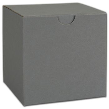 Grey One-Piece Gift Boxes, 4 x 4 x 4""