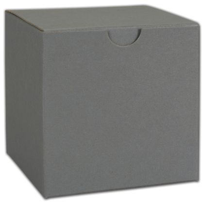 """Grey One-Piece Gift Boxes, 4 x 4 x 4"""""""
