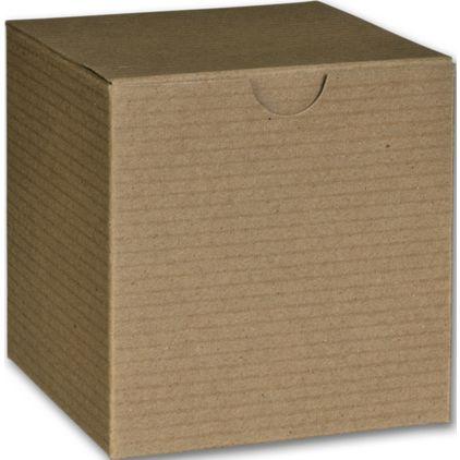 "Kraft One-Piece Gift Boxes, 4 x 4 x 4"""