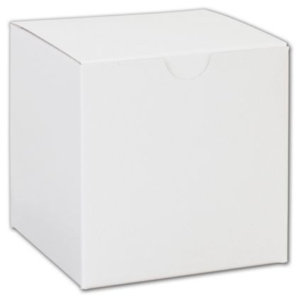 """White One-Piece Gift Boxes, 4 x 4 x 4"""""""