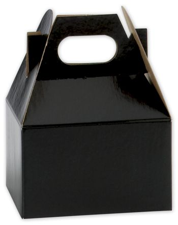 Black Mini Gable Boxes, 4 x 2 1/2 x 2 1/2