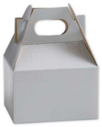 Silver Mini Gable Boxes, 4 x 2 1/2 x 2 1/2