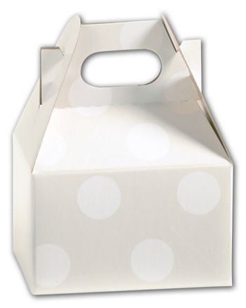 Polka Dot Pearl Mini Gable Boxes, 4 x 2 1/2 x 2 1/2