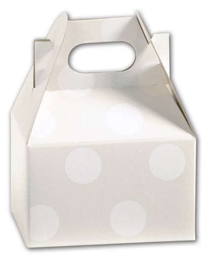 Polka Dot Pearl Mini Gable Boxes, 4 x 2 1/2 x 2 1/2""
