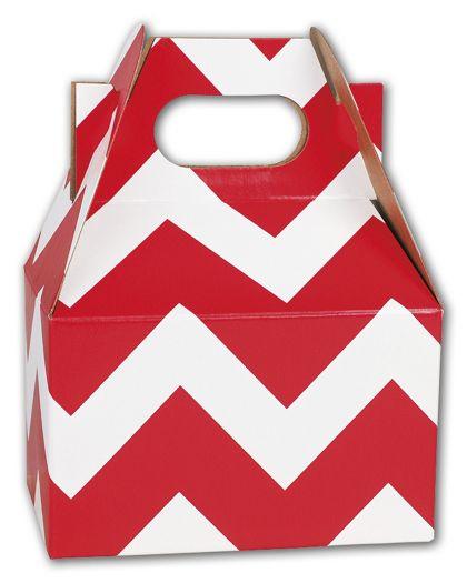 """Red Chevron Mini Gable Boxes, 4 x 2 1/2 x 2 1/2"""""""