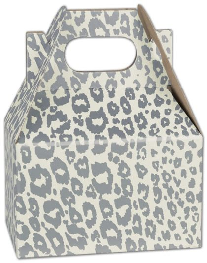"Silver Cheetah Mini Gable Boxes, 4 x 2 1/2 x 2 1/2"""