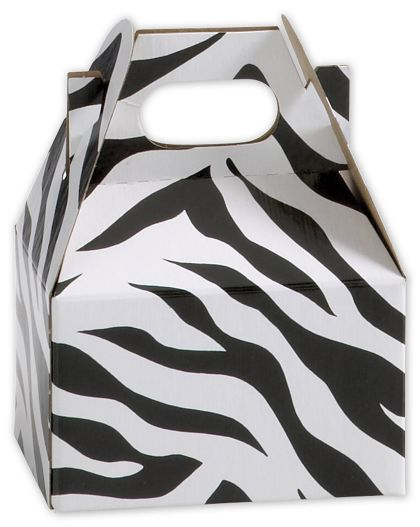 "Zebra Mini Gable Boxes, 4 x 2 1/2 x 2 1/2"""