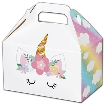 Pastel Unicorn Gable Boxes, 6 x 3 3/4 x 3 1/2