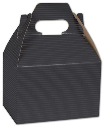 Black Varnish Striped Gable Boxes, 6 x 4 x 4