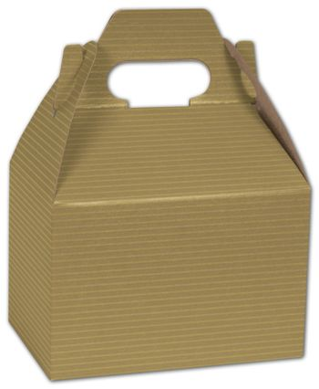 Gold Varnish Striped Gable Boxes, 6 x 4 x 4