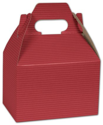 Red Varnish Striped Gable Boxes, 6 x 4 x 4