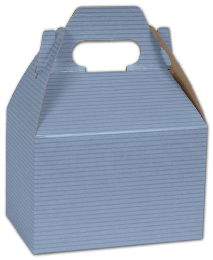 French Blue Varnish Striped Gable Boxes, 6 x 4 x 4""
