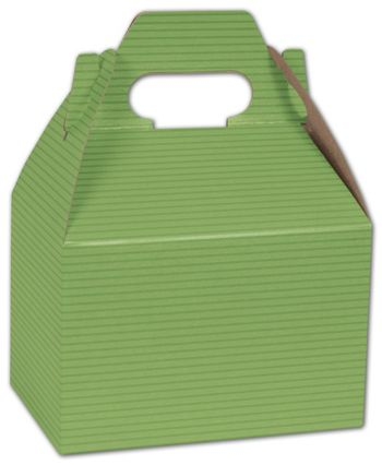 Apple Green Varnish Striped Gable Boxes, 6 x 4 x 4