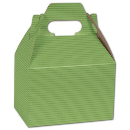 Apple Green Varnish Striped Gable Boxes, 6 x 4 x 4""