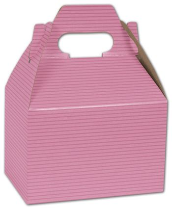 Pink Varnish Striped Gable Boxes, 6 x 4 x 4