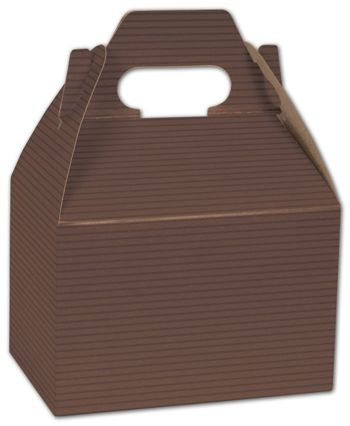 Brown Varnish Striped Gable Boxes, 6 x 4 x 4