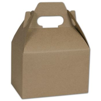 Kraft Varnish Striped Gable Boxes, 6 x 4 x 4""