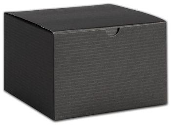 Black Pinstripe One-Piece Gift Boxes, 6 x 6 x 4