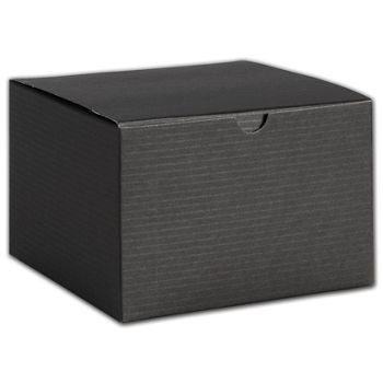 Black Pinstripe One-Piece Gift Boxes, 6 x 6 x 4