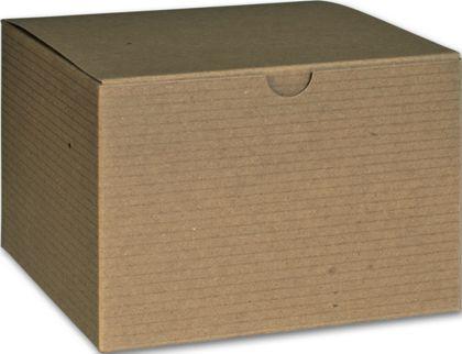 "Kraft One-Piece Gift Boxes, 6 x 6 x 4"""