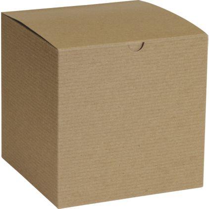 "Kraft One-Piece Gift Boxes, 7 x 7 x 7"""