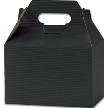 Black Varnish Striped Gable Boxes, 8 x 4 7/8 x 5 1/4