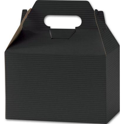"""Black Varnish Striped Gable Boxes, 8 x 4 7/8 x 5 1/4"""""""