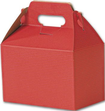 Red Varnish Striped Gable Boxes, 8 x 4 7/8 x 5 1/4