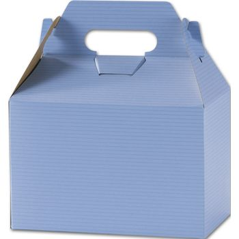 French Blue Varnish Striped Gable Boxes, 8 x 4 7/8 x 5 1/4