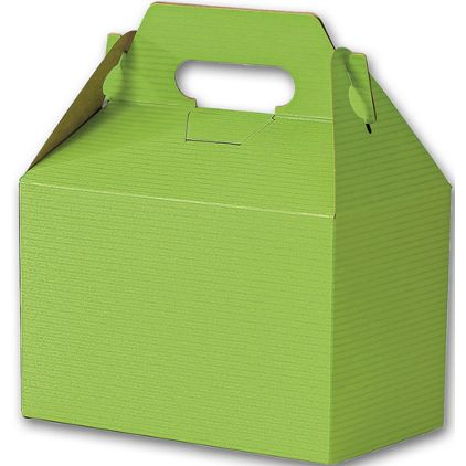 Apple Green Varnish Striped Gable Boxes, 8 x 4 7/8 x 5 1/4