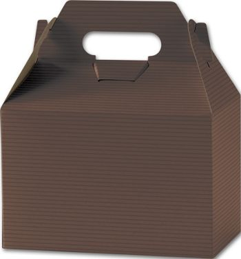 Brown Varnish Striped Gable Boxes, 8 x 4 7/8 x 5 1/4
