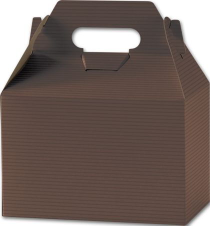 Brown Varnish Striped Gable Boxes, 8 x 4 7/8 x 5 1/4""